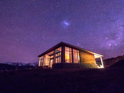 The night sky over Lake Tekapo and Isolation Bay.